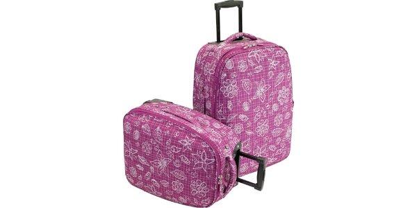 Set dvoch fialových látkových kufrov s potlačou Valisa