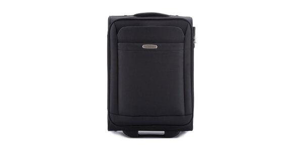 Malý čierny cestovný kufor s dvomi kolieskami Wittchen