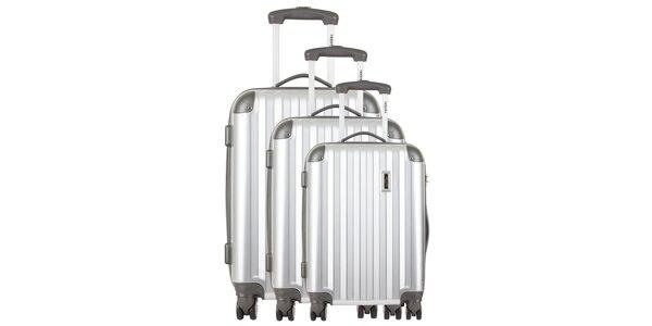 Sada troch strieborných cestovných kufrov Renoma