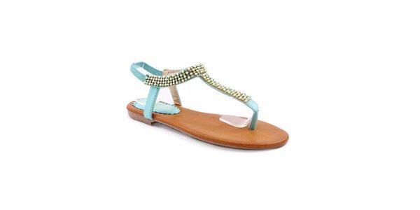Dámske svetlo modré sandále s korálkami Balada