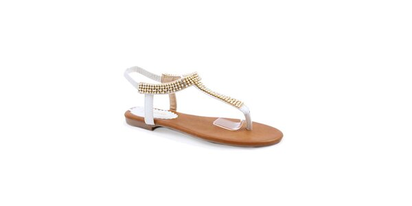 Dámske biele sandále s korálkami Balada