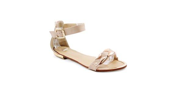 Dámske béžové sandálky so zlatou aplikáciou Balada