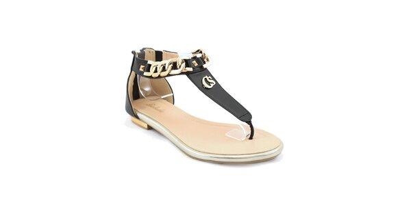 Dámske čierne sandálky s retiazkou Balada