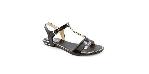 Dámske čierne sandálky so zlatým zdobením Balada