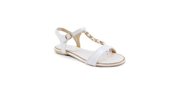 Dámske biele sandálky so zlatým zdobením Balada
