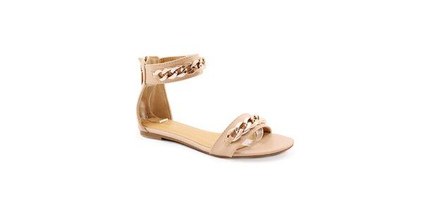 Dámske béžové sandálky so zlatou retiazkou Balada