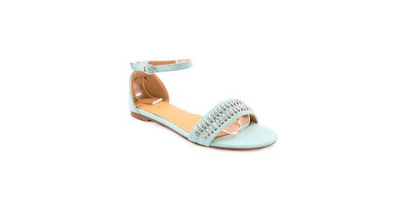 Dámske modré sandálky s kamienkami Balada