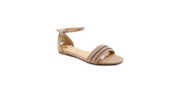 Dámske khaki sandálky s kamienkami Balada