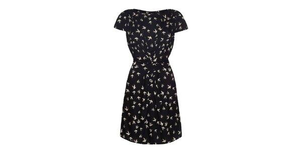Dámske čierne šaty s potlačou vtáčikov Iska