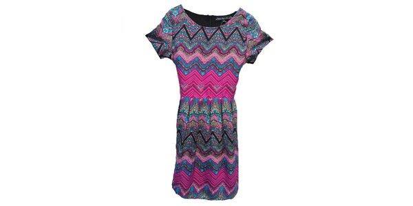 Dámske ružové šaty s aztéckou potlačou Iska