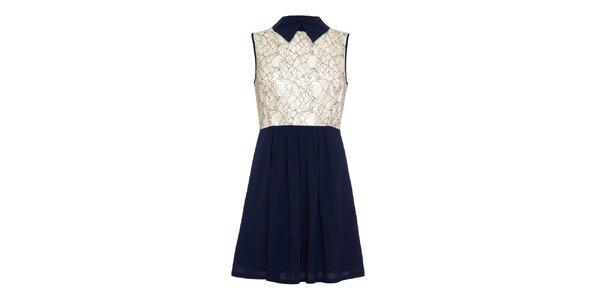 Dámske tmavo modré šaty s krémovo bielou vrchnou čásťou Iska
