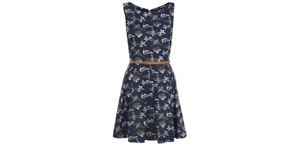 Dámske tmavo modré šaty s potlačou vtáčikov Iska