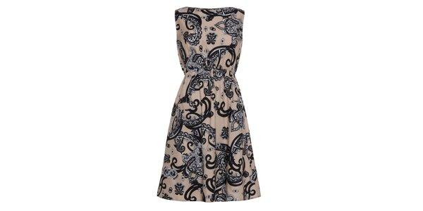 Dámske béžové šaty so vzorom Iska