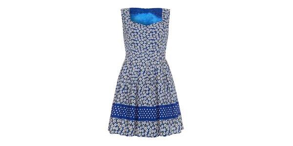 Dámske modré šaty s kvetinkami a bodkami Iska