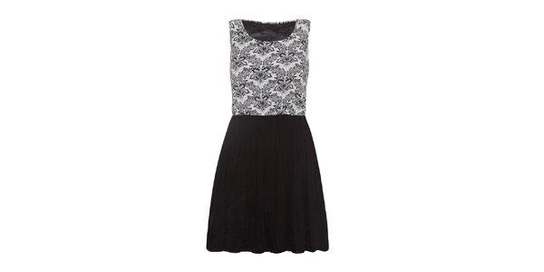 Dámske vzorované šaty s čiernou sukňou Iska