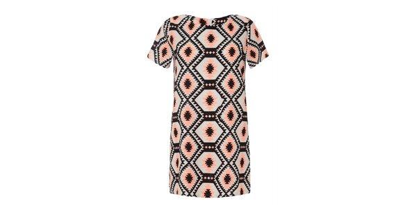 Dámske šaty s ružovým a čiernym vzorom Iska