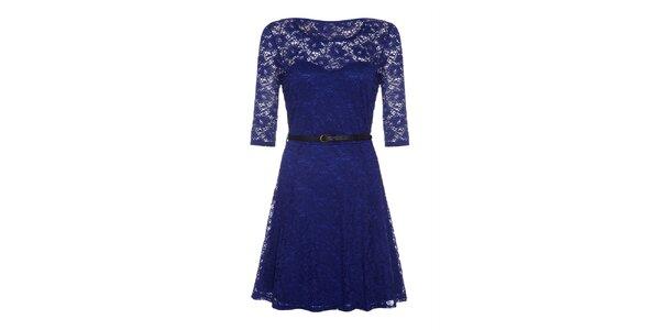 Dámske modré čipkové šaty s dlhým rukávom Iska