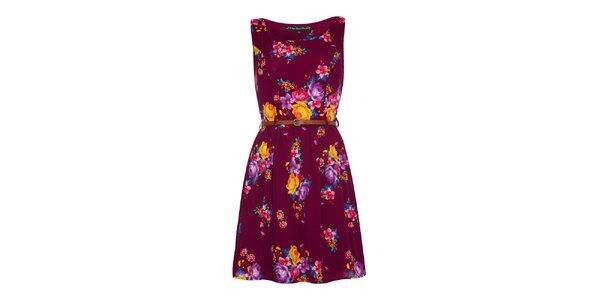 Dámske purpurové šaty s kvetinami Iska