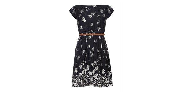 Dámske čierne šaty s kvetinami Iska