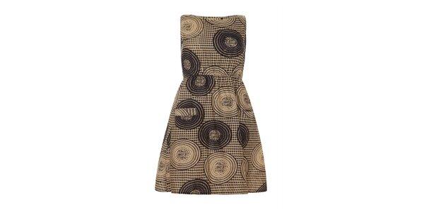 Dámske čierno-béžové šaty s kruhmi bez rukávov Iska