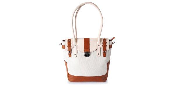 Dámska biela kabelka s karamelovými detailmi Belle&Bloom
