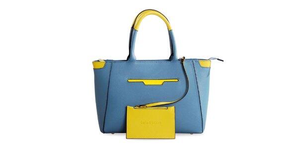 Dámska modrá kožená kabelka so žltými prvkami Belle & Bloom