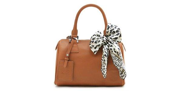 Hnedá kufríková kabelka Belle & Bloom s ozdobnou šatkou