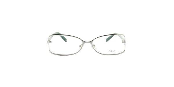 Dámske okuliarové rámy so zelenými stranicami Furla