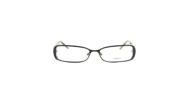 Dámske čierne obdĺžnikové okuliarové rámy so zelenými stranicami Furla