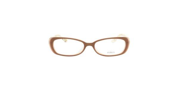 Dámske hnedé okuliarové rámy so zlatistými stranicami Furla