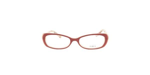 Dámske ružové okuliarové rámy so vzorovanými stranicami Furla
