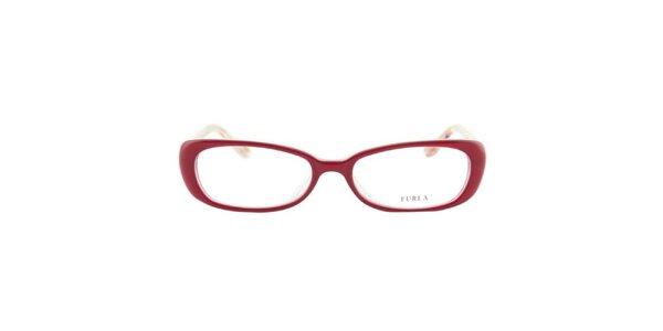 Dámske červené okuliarové rámy so vzorovanými stranicami Furla