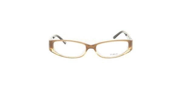 Dámske hnedobéžové okuliarové rámy so srdcovými stranicami Furla