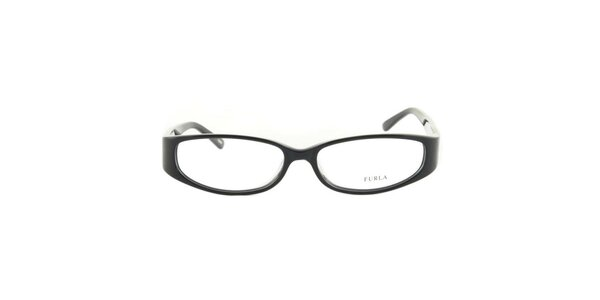 Dámske čierne okuliarové rámy so srdcovými stranicami Furla