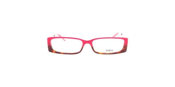 Dámske ružovo-hnedé okuliarové rámy Furla