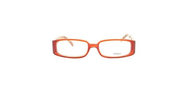 Dámske obdĺžnikové okuliarové rámy so vzorovanou vnútornou stranou stranic Furla