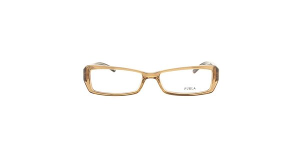 Dámske obdĺžnikové béžovo-hnedé okuliarové rámy Furla