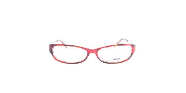 Dámske červeno-hnedé okuliarové rámy Furla