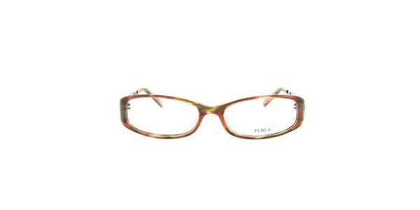 Dámske farebne vzorované okuliarové rámy Furla