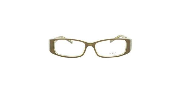 Dámske zelené okuliarové rámy s pevnými stranicami Furla