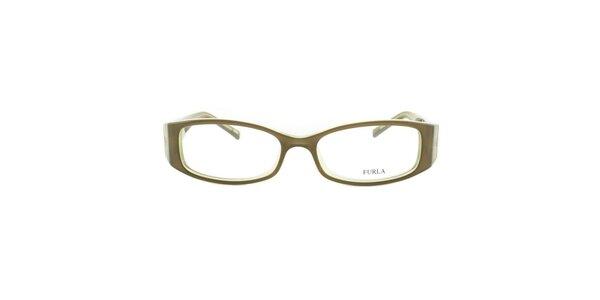 Dámske okuliarové rámy s pevnými stranicami v odtieňoch zelenej Furla