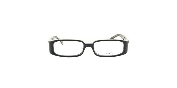 Dámske čierne okuliarové rámy s písmenom F na straniciach Furla