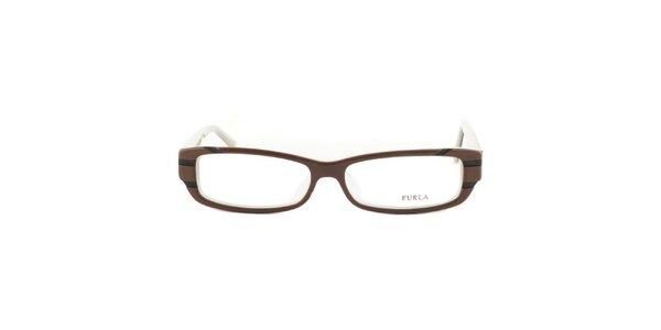 Dámske hnedo-šedé okuliarové rámy Furla