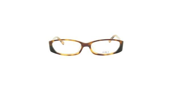 Dámske žlto-hnede žíhané okuliarové rámy Furla