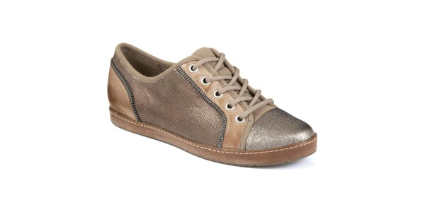 Dámske hnedobéžové topánky s metalickou špičkou Clarks