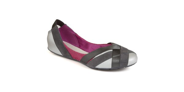 Dámske strieborno-šedo-fialové balerínky Clarks