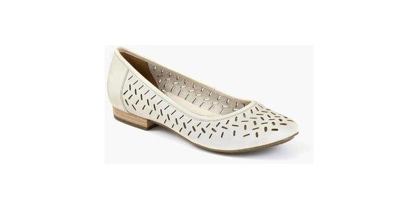 Dámske krémové topánky s perforáciou Clarks
