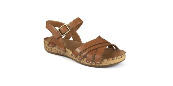 Dámske hnedé remienkové sandále Clarks