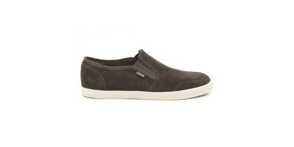 Pánske tmavo hnedé semišové topánky Clarks