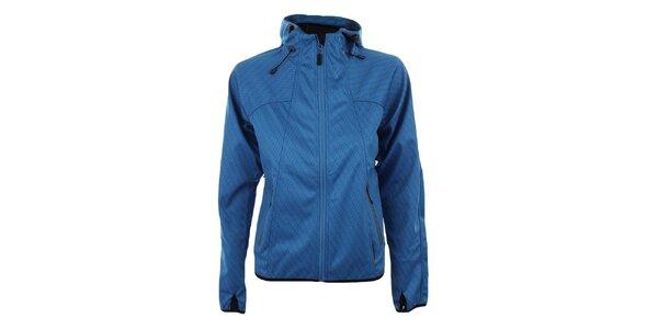 Dámska modrá softshellová bunda so vzorom Trimm